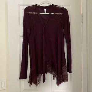 Maroon Lace Tunic Blouse